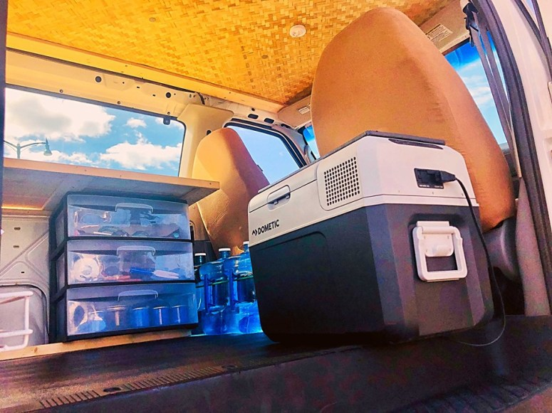 royal blue refrigerator vanlife maui maui campervan off grid living hana road haleakala volcano