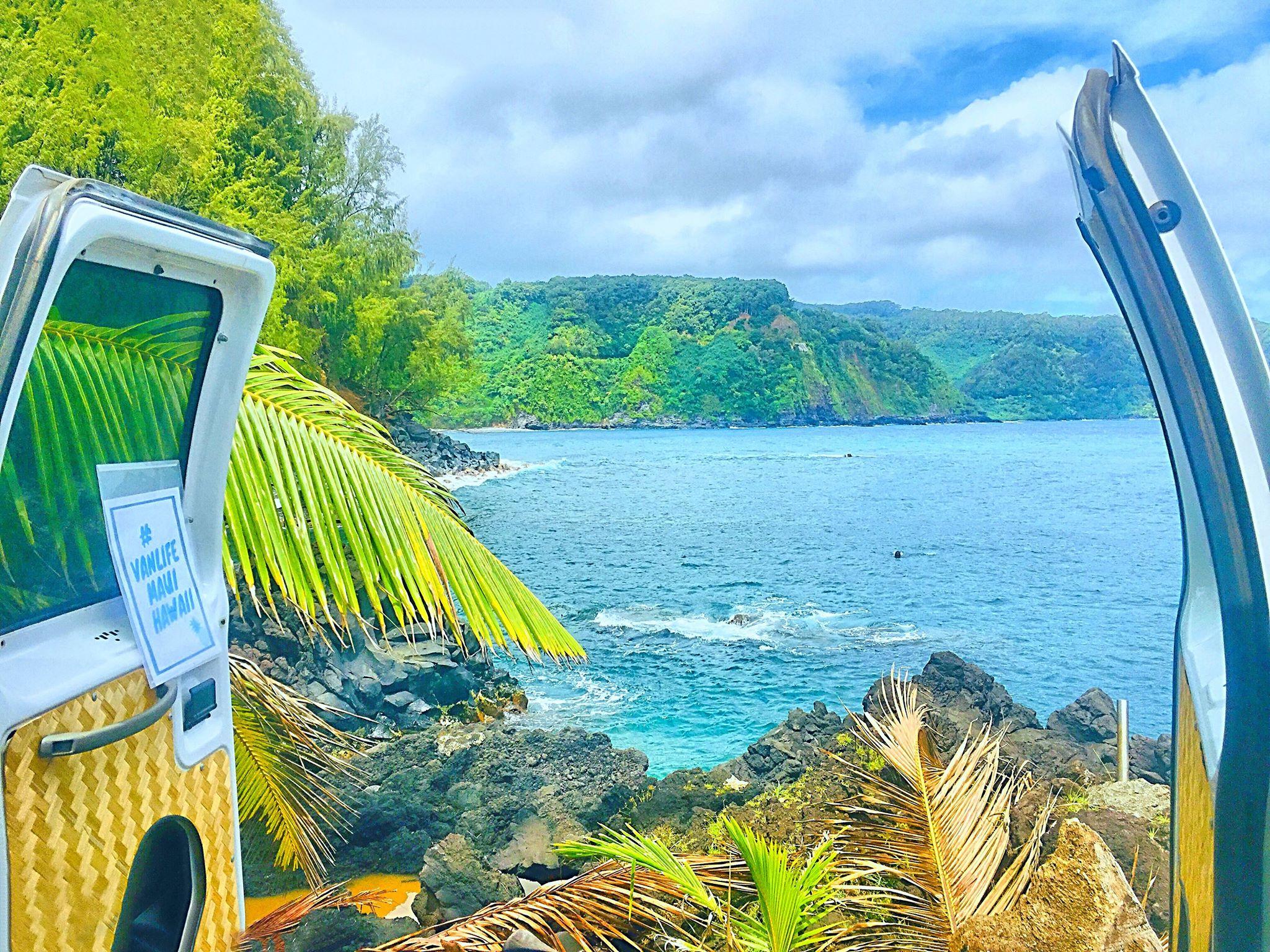 vanlife maui van life maui camper van campervan rental fully equipped cloud 9 haleakala volcano road to hana off grid solar panel refrigerator romantic getaway