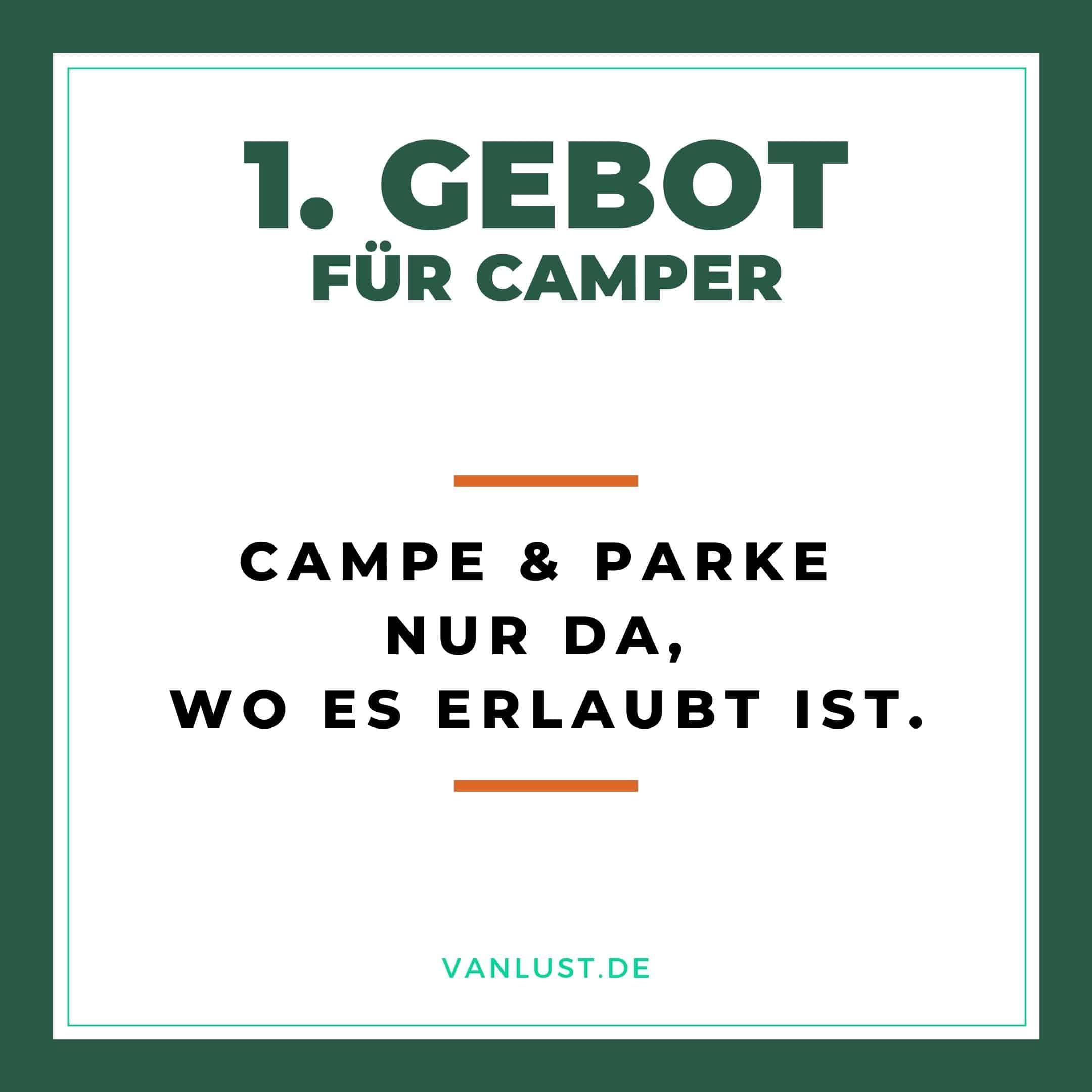 1. Gebot für Camper - 10 Gebote