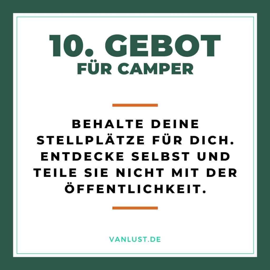 10. Gebot für Camper - 10 Gebote