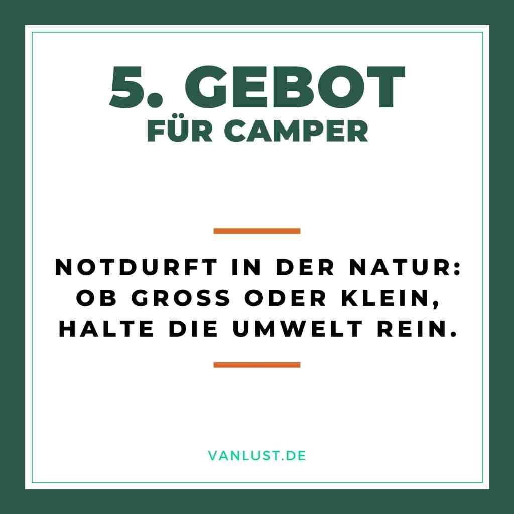 5. Gebot für Camper - 10 Gebote
