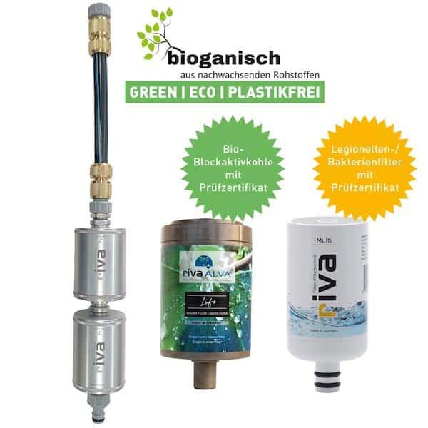 Blockaktivkohlefilter + Legionellen- Bakterien Trinkwasserfilter | rivaALVA EXPLORER OVERLAND | Doppel-Filter