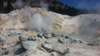Bumpass Hell belching hot steam. FAITH MECKLEY