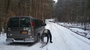 In an attempt to find a campsite, we got stuck on an unpaved, unplowed woodland road and eventually required a tow the next morning. FAITH MECKLEY