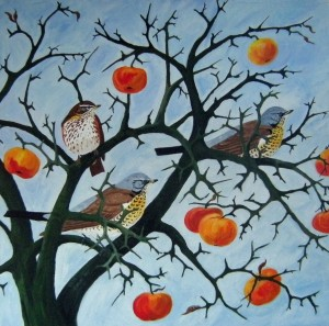 Winter Apples, Fieldfares and Redwing