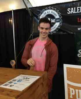 Keenan Emery volunteering at the Cinco de Micro Brewfest for the Boys & Girls Club of Salem.
