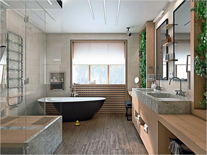 дизайн ванной комнаты с окном 3