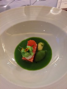 Green gazpacho with trout