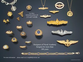 Inside spread of a brochure featuring jewelry for the US Navel Academy.