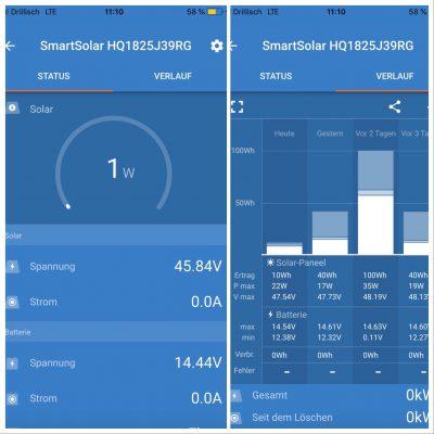 Victron App, Einstellung und Überwachung der Solaranlage