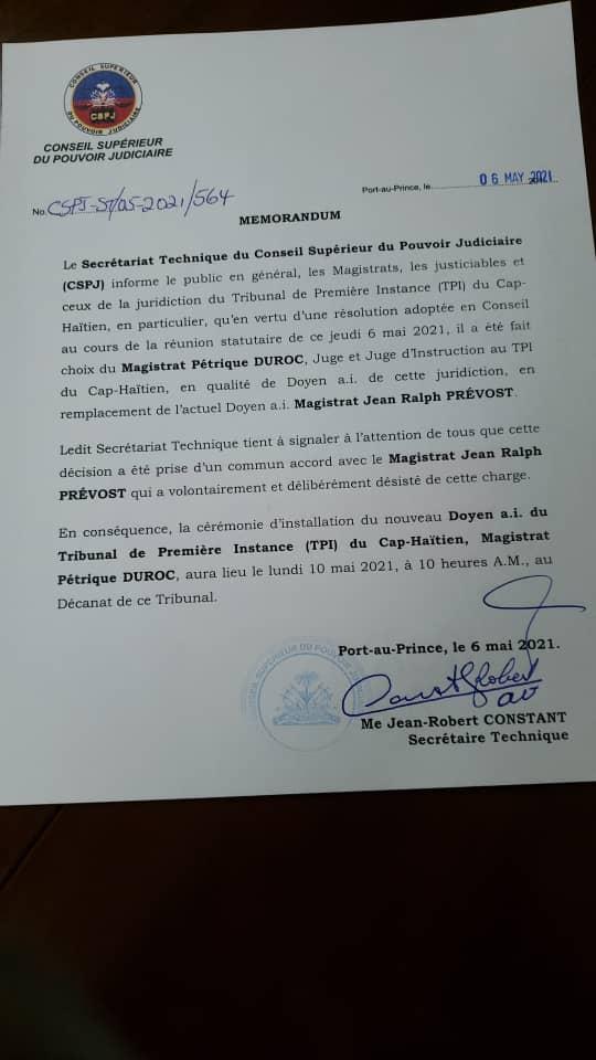 , Haïti-Justice: Le Juge Pétrique Duroc nommé à la tête du Tribunal de Première Instance du Cap-Haïtien