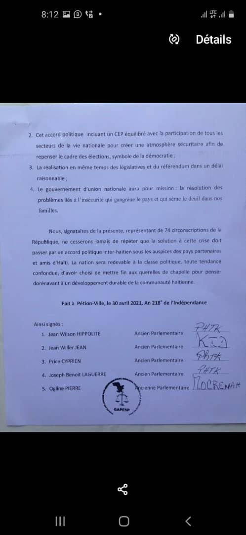 , Haiti/crise politique: Un groupe de 74 anciens députés plaide en faveur d'un gouvernement d'union nationale