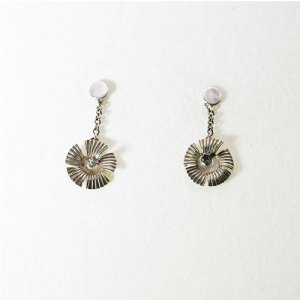 HIBISCUS MINI DROP CHAIN EARRING STERLING SILVER