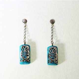 TIKI MINI DROP CHAIN SET ON GEM STONE EARRING STERLING SILVER