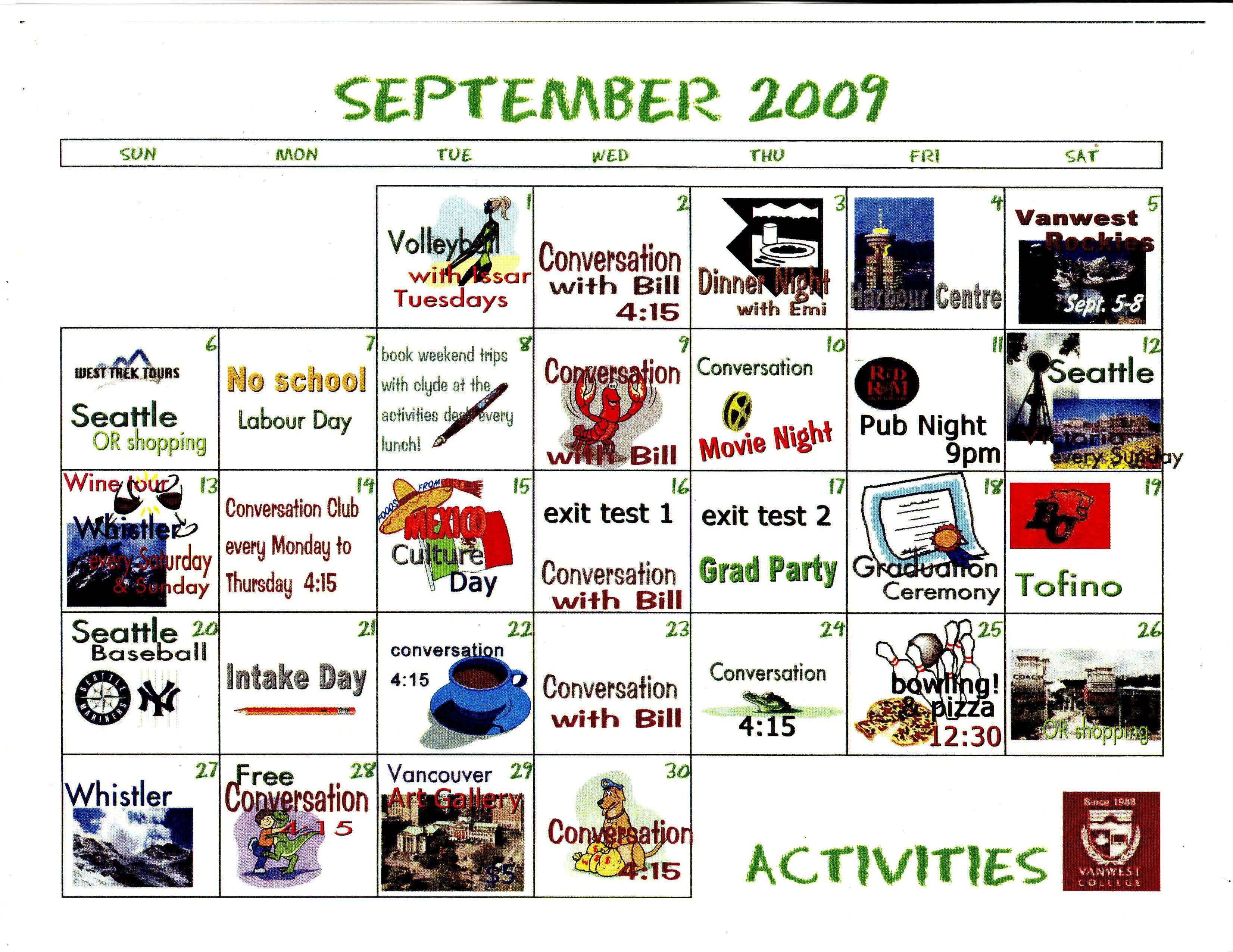 September Activities Calendar