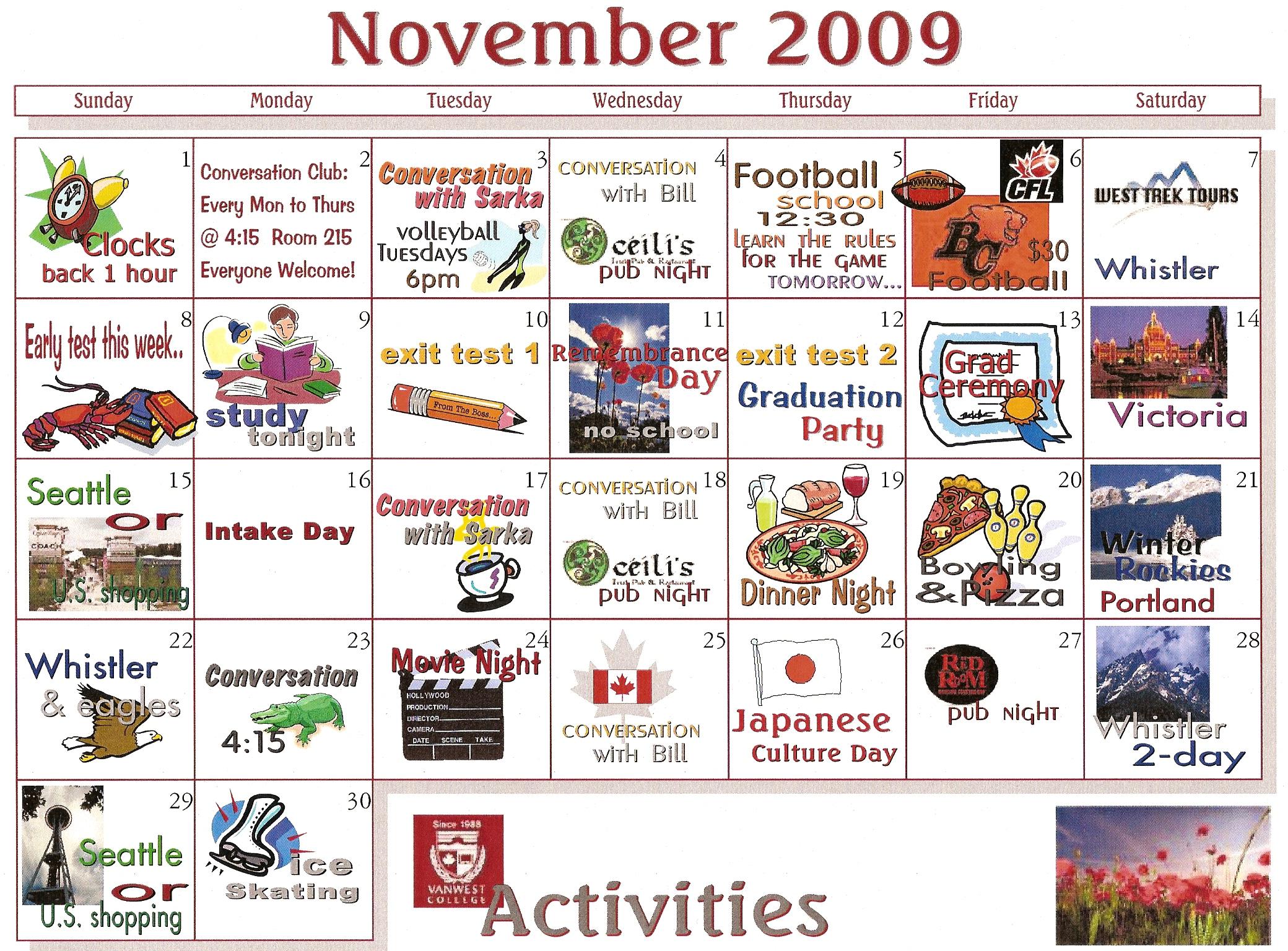 November Activities Calendar