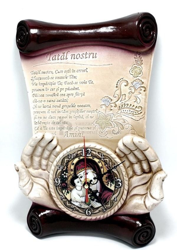 Placheta din ipsos cu ceas Tatal Nostru