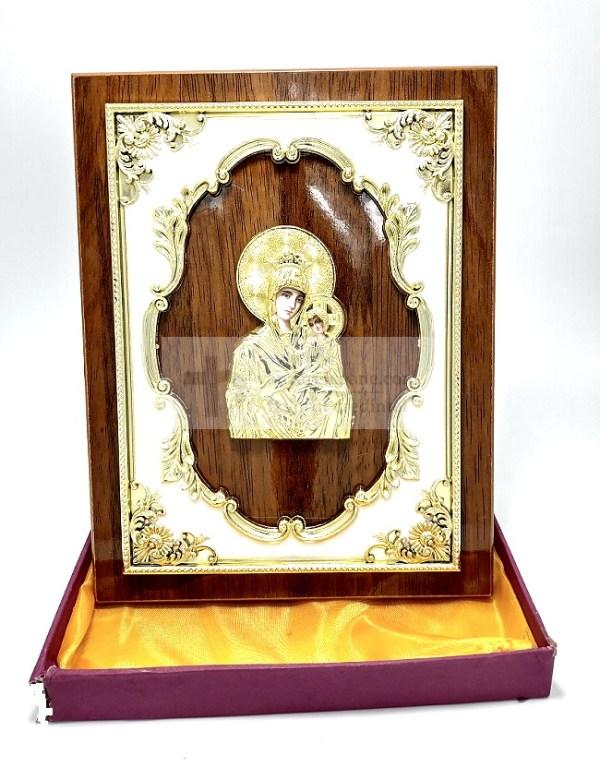 Icoana pe lemn aurie Maica Domnului cu Pruncul Portăriţa