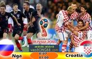 Soi kèo Nga vs Croatia (1h ngày 08-07-2018)