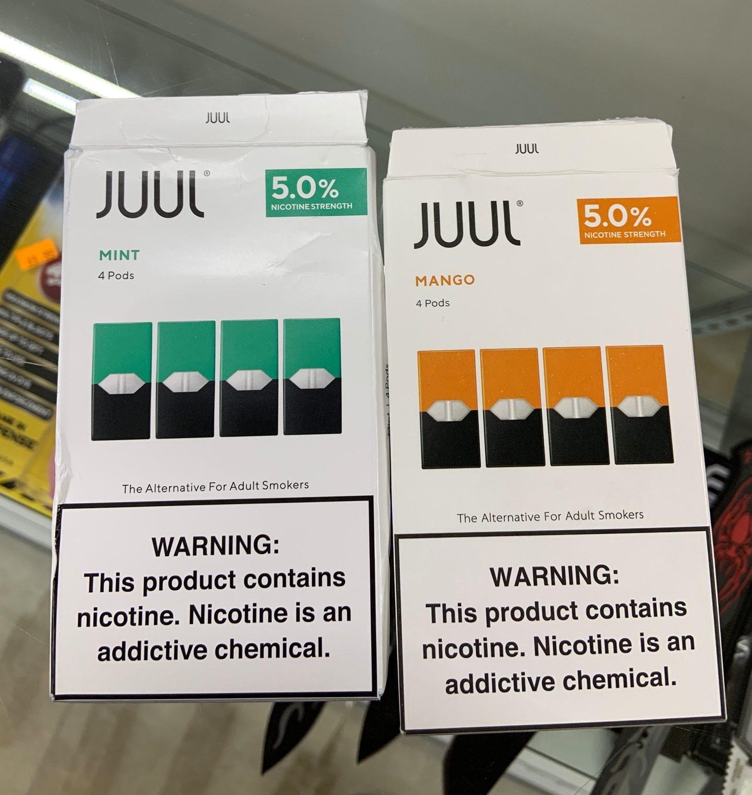 Fake pods (mango) vs real pods (mint)