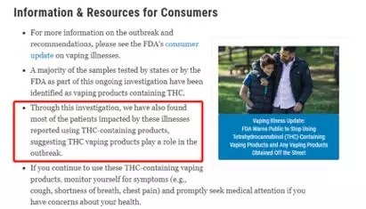 "Recently, the latest statement issued by CDC and FDA has made it clear that ""illegal electronic cigarette products containing THC play a role in harm cases."""
