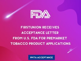 Firstunion received the PMTA acceptance letter from FDA