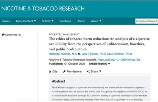 The Ethics of Tobacco Harm Reduction: An Analysis of E-Cigarette Availability From the Perspectives of Utilitarianism, Bioethics, and Public Health Ethics