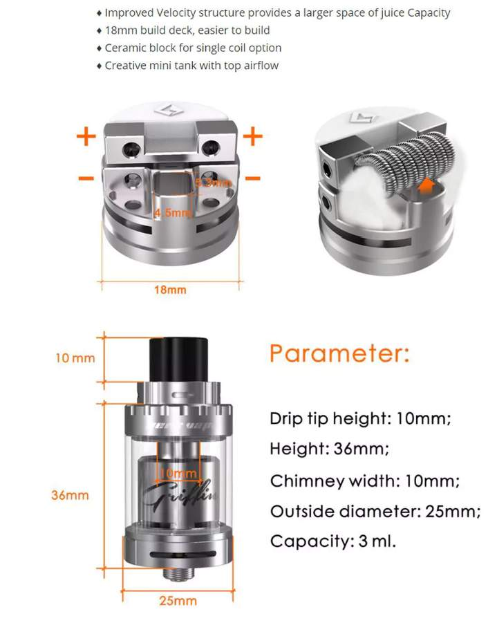 GeekVape Griffin 25 Mini RTA dimensions