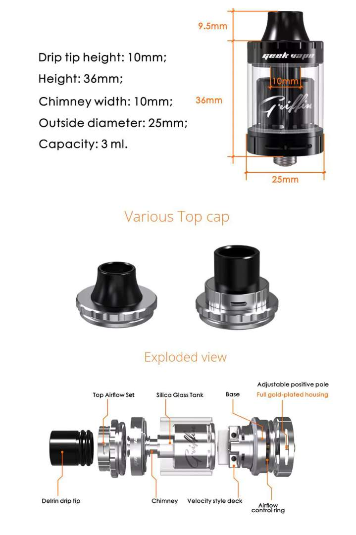 GeekVape Griffin 25 Mini RTA parameters