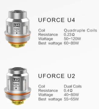 VooPoo UFORCE U2 and U4 coil specifications