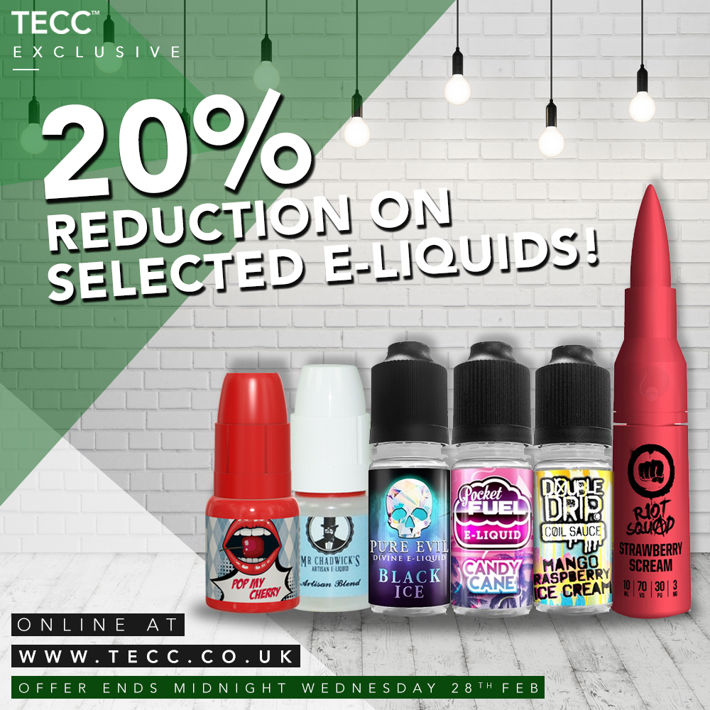 20% Reduction On Select E-liquids – From £3.99 At TECC!