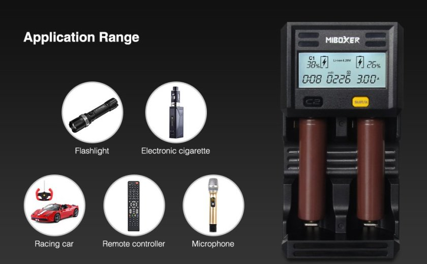 Miboxer 18650 Battery Chargers C2-6000 3A fast Charger 2 slot Smart Charger with LCD Screen for Ni-MH Ni-Cd AA AAA C D Li-ion IMR INR ICR 10340 26650 21700 UK plug