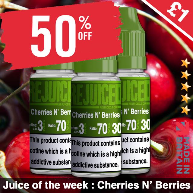 10ml Cherries n' Berries E-Liquid by REjuiced – £0.85