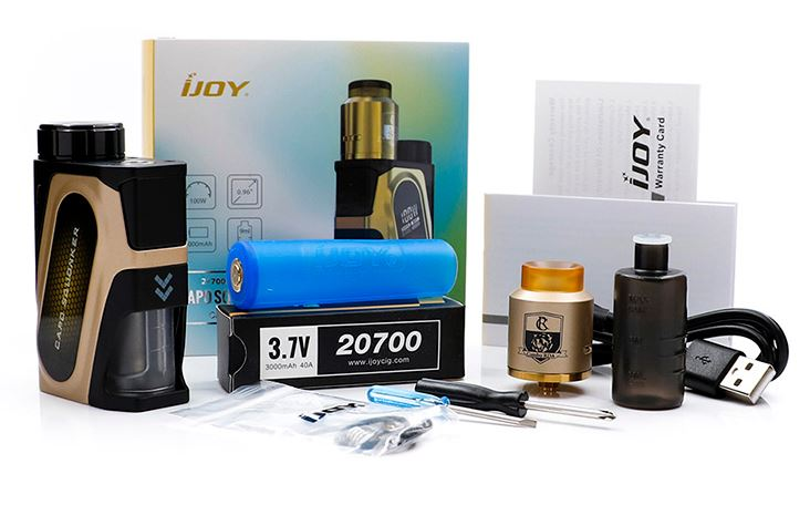 IJOY CAPO Squonk Mod 100w 20700 packaging contents