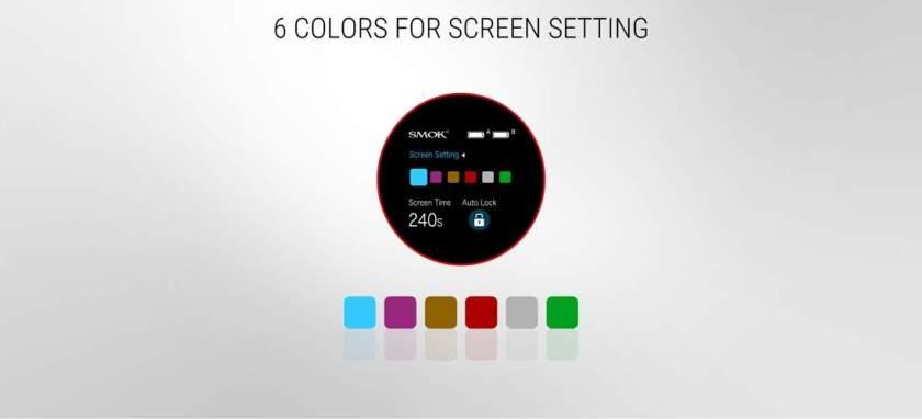 SMOK S-Priv Mod 225W TC Box Mod Screen colour settings