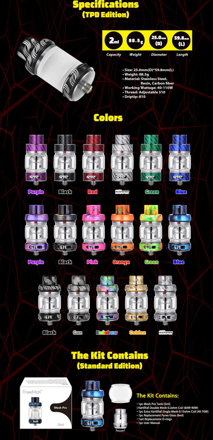 FreeMax Mesh Pro Tank 3 Kit Contents and Colours