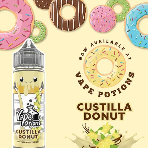Custilla Donut 120ml Short fill- £6.75 by Vape Potions