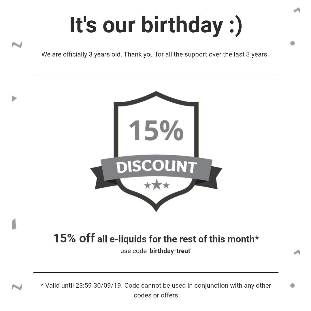 15% Off All E-Liquids