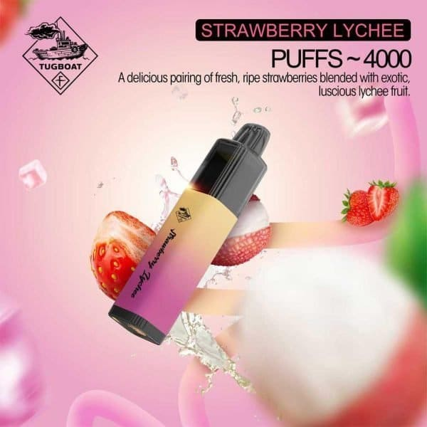 Tugboat Mega Flow 4000 Puffs Disposable Pod Kit Airflow Control (Strawberry Lychee)