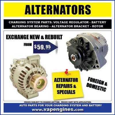 Car alternator- New, Rebuilt, and Exchange
