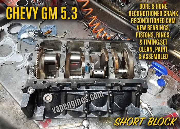 Chevy GM 5.3 Rmanufactured Short Block Engine