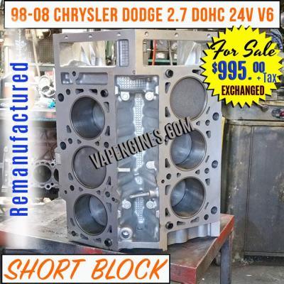 Chrysler Dodge 2.7 DOHC 24V V6 Short Block Engine for sale.