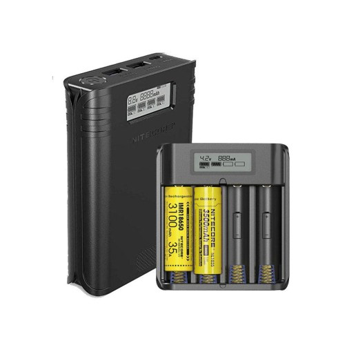 Battery charger and Power bank Single-slot max charging current of 1A Single USB port max output current of 2A 4 slots controlled independently LCD real-time display 2 hours to fully charge iPhone X