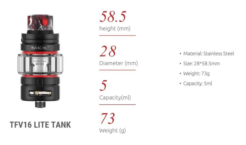 Smok TFV16 Lite Tank Parameter