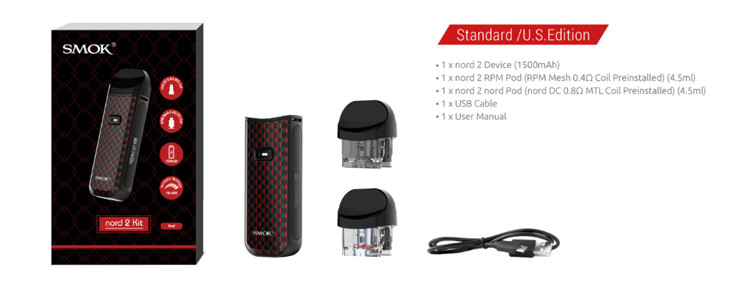 smok nord 2 kit includes