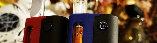 "eDab Fantom oil cartridge battery kit with removable shell, preheat mode, and universal compatibility with prefilled cartridges (including the wider types). All this packed into a super portable micro palm size (~1"" x 2"") device with fast-charging 500mah battery. Includes device,  refillable top airflow cartridge,  USB charger, and  lanyard necklace. Now in stock and on sale at ezvapes.com. #ezvapes #vapetheworld"