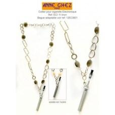 cuello accesorios-e-cigarrillos-tours-de-la cadena de perlas de color marrón años de Ghez