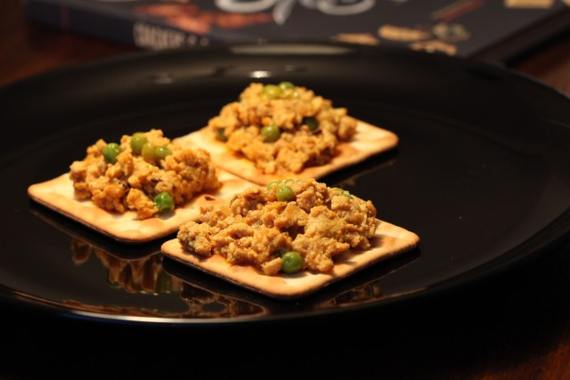K for Kheema on crackers