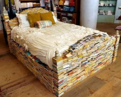 A campus bed made outta books