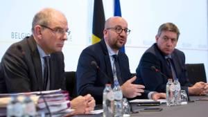 Koen Keens dómsmálaráðherra, Charles Michel forsætisráðherra og Jan Jambon innanríkisráðherra Belgíu.
